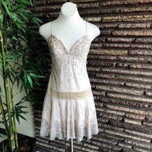BCBGMaxAzria Beige Tulle Embellished Party Dress